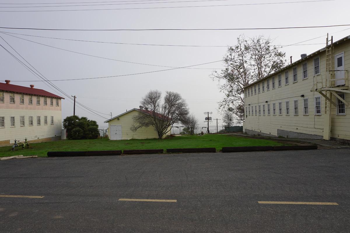 Looking east toward buildings C and B